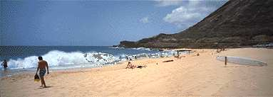 sandy beach southern shore oahu